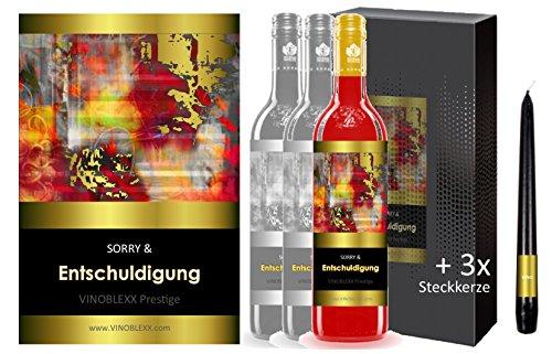 ENTSCHULDIGUNG. 3er Geschenkset KLASSIK Perlwein (LADYLIKE spezielles Damengetränk). Ein Geschenk mit Stil & Prestige in Golddruck das jeden begeistert. Hochwertiger Qualitätswein. Verschiedene Etiketten-Designs, aktuell: abstrakt