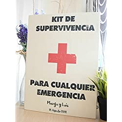 Kit de Emergencia - Cartel hecho a mano en madera - Tamaño 20x30 cm