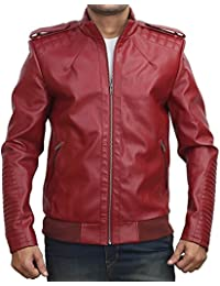 BBGJ red colour pu leather biker jacket for men by Bareskin/faux leather jacket for men/designer jacket for men/branded jacket for men