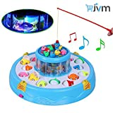 #10: Fish Catching Electric Rotating Magnetic Fishing Game with 26 Pcs Of Fish, 2 Rotary Fishing Pond & 4 Pods Includes Music and Lights Function (Assorted Color)