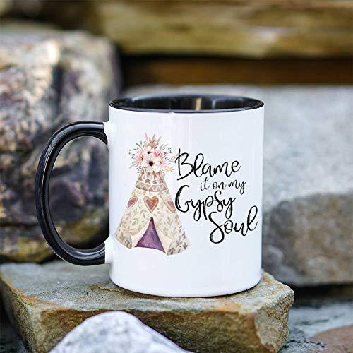 Soul Free Woman Gypsy Love Teepee Mug Cute Cup Mug With Saying Coffee Mug Coffee Tea Caffeine Addict ()