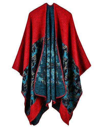 Femme Cape Vintage Foulard Châle Motif Cape Camouflage Doux Chaude Hiver Rouge