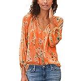 Innerternet Damen Chiffon Blusen Elegante Oberteile V-Ausschnitt Blumen Druckknopf T Shirt Hemd Langarm Shirt Spitzenbluse