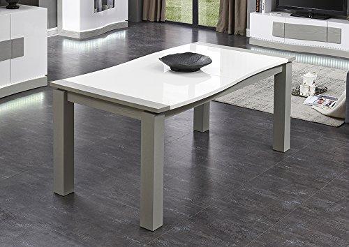Table repas BLANCHE et GRISE extensible 240 cm - 8/10 personnes - Qualité Premium - design contemporain - BELUGA