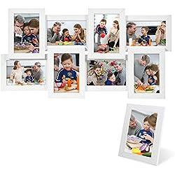 SONGMICS Marcos de fotos 8 fotos (10 x 15 cm) + 1 x Marco de foto MDF blanco RPF108W
