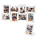 SONGMICS Bilderrahmen Collage für 8 Fotos je 10 x 15 cm (4 x 6) + 1 x einzelner Fotorahmen aus MDF-Platten Weiß RPF108W