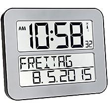 TFA 60.4512.54 - Reloj digital mural, color plata