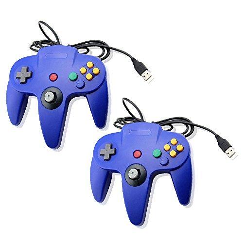 Blau Bundle Nintendo 64Classic USB Game Controller Joypad Gaming- Kompatibel mit PC und Mac von Mario Retro Dual-Pack Blau