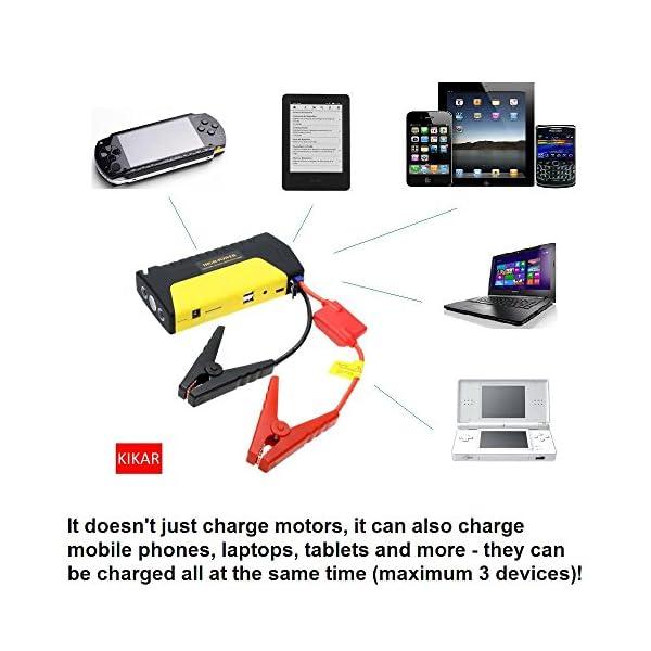 kikar CE Portable Compact 5-in-1Jump Starter Super Charger Power Bank con 600A Pico de corriente–Cargador de Coche Jump Start, móvil/tablet/laptop/Juego, martillo, cortador de cinturón de seguridad y linterna/SOS Luz Todo en Uno.