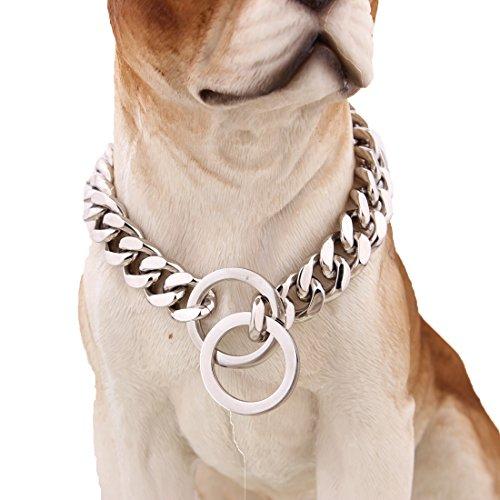 mcsays 15 mm breit Big Hip Hop Silber Ton Edelstahl 316L Dog Choke Kette Halsband Pets Personalisierte Cut Panzerkette Cuban Link Kette 30.5–86.4 cm (Hund Halsband Schlange Kette)