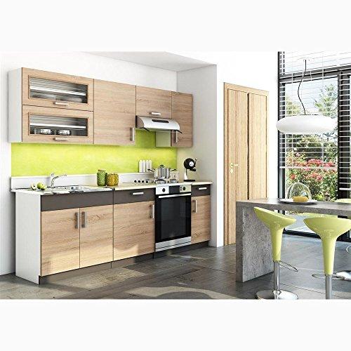 JUSTyou Blanka Küchenzeile Küchenblock Küche Farbe: Sonoma Eiche/Lava