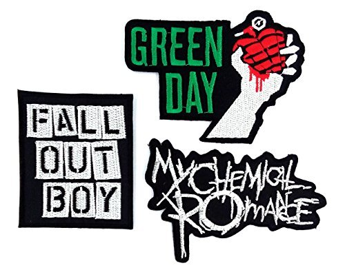Set_ROCK007 - My Chemical Romance Patches, Fall Out Boy Patches and Green Day Patches, 3 Pcs Heavy Metal Patches, Applique Embroidered Patches - Rock Band Iron on Patches by Asian 108 Markets -