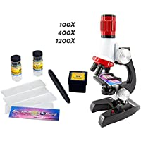 Newlemo Microscopio Bambino 100X 400X and 1200X Scienza Microscopio Giocattolo