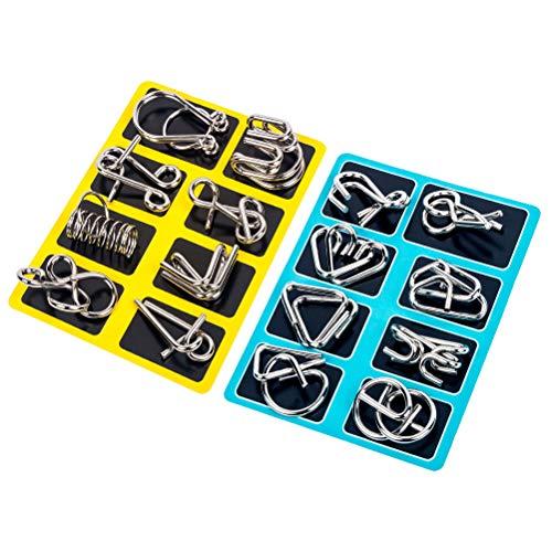 YeahiBaby 16 stücke Metall Puzzles Denksportaufgaben IQ Test Disentanglemen Iron Link Unlock Interlock Spiel Chinesischen Ring Zaubertrick Spielzeug für Party Favor Kinder Erwachsene Herausforderung