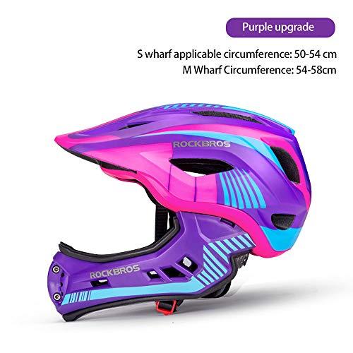 Luckyin Maniac Fahrradhelm-Kind Balance Helm-Bike Scooter Vollhelm-Vollgesichts-Fahrrad-Skateboardhelm Abnehmbarer Craniacea für 2-10 Jahre,Purple,S