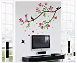 #6: Oren Empower Peach Floral Decorative Branch Large Wall Sticker (Finished Size On Wall - 150(W) X 150(H) Cm)