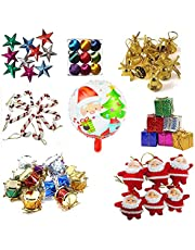 Krisah® 99 pcs Christmas Mini Ornaments Decoration Set (Satin Balls, Bells, Stars, Santa Claus Hanging, Candy Canes, Gifts, Drums & Santa Foil Balloon)