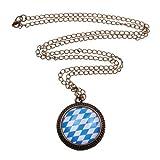 Bayern Halskette - ca. 70cm lange Kette - Oktoberfest Anhänger Deutschland Blau Weiß Rauten