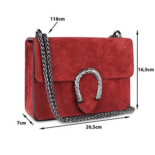 Glamexx24 Damen Clutch echt Leder Tasche Abendtasche mit Kette Handtasche Made in Italy 1.007.7 Violett