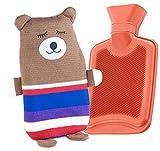 infactory Gummi-Wärmflasche: Kinder-Wärmflasche mit Teddybär-Bezug, 1 Liter (Wärmflasche mit Kuschelbezug)