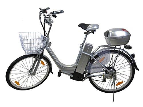V101 City 26 Zoll Elektro Fahrrad Pedelec E-Bike mit Motor 250 Watt / 36 Volt Blei-Gel Akku Silber