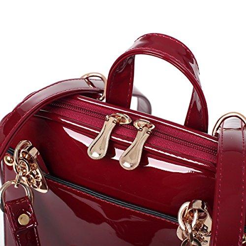 Qualità Paillette Elegante Temperamental Pelle Verniciata Stereotype Zaino Borsa Delle Signore Multicolore Red