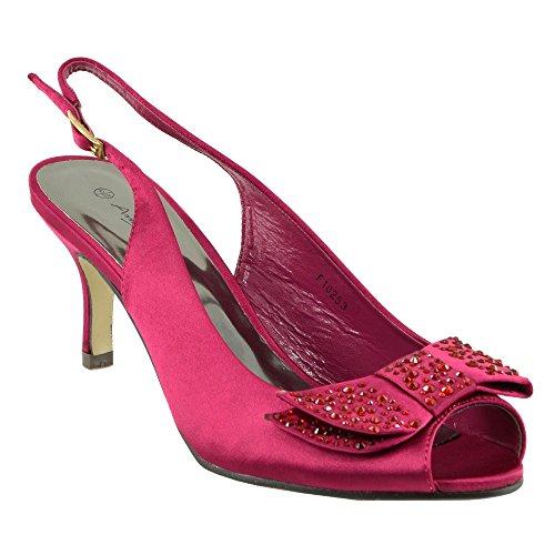 Kick Footwear - Donna Womens basso, tacco a stiletto raso scarpe da sposa scarpe festa Borgogna