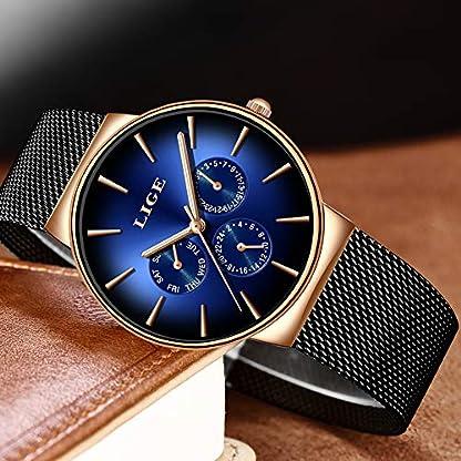 LIGE-9936D-Herren-Armbanduhr-modisch-Militr-Sport-wasserdicht-Edelstahl-schwarzes-Mesh-Business-Kleid-Analog-Quarz-blaues-Zifferblatt