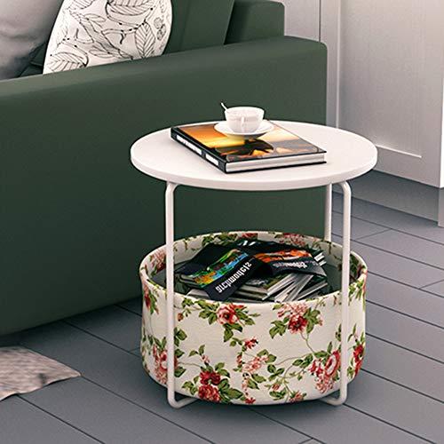 Style home Beistelltisch Runder Couchtisch mit Stoffkorb Aufbewahrungskorb Kaffetisch Nachttisch für Wohnzimmer Schlafzimmer, Blumenmuster Holz und Metall Weiß SH27M11007-WIE -