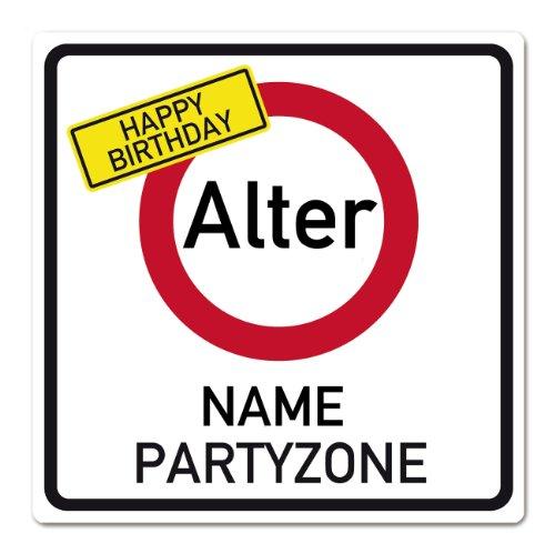 private signs Happy Birthday Schild im Verkehrszeichen Look mit gewünschtem Alter und Namen