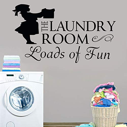 Laundry Room Decal Laundry Room Sign Vinyl Wall Decor Quotes Loads Of Fun Sticker With Woman Silhouette Poster 74X42cm -