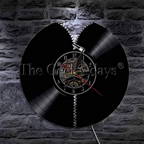 AGlitw Reißverschluss LED-Licht Schallplatte Wandkunst Wanduhr Haftet Abstrakt Zip CD Disc Wohnzimmer Dekorative Uhr 320-disc Cd
