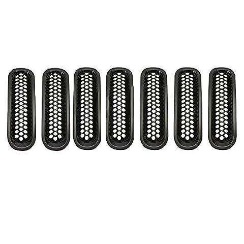 Hrph 7pcs schwarze Ordnung Frontgrill -Abdeckung Insert Netz Grill Für 16.07 Jeep Wrangler JK