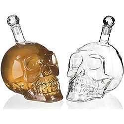"""Garrafa en el diseño de """"cráneo"""" - Transparente de aproximadamente 500 ml - Garrafa de vidrio pirata para bar y fiesta en el hogar - Grinscard"""