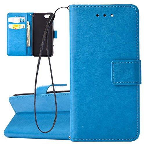 Custodia per Apple iPhone 7, ISAKEN iPhone 7 Flip Cover con Strap, Elegante Bookstyle Contrasto Collare PU Pelle Case Cover Protettiva Flip Portafoglio Custodia Protezione Caso con Supporto di Stand / Blu