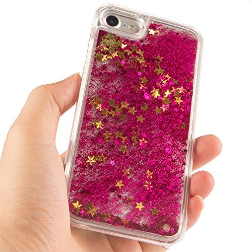 Cover rigida trasparente con liquido e brillantini, effetto 3D, per iPhone 6S Plus (2015) e iPhone 6Plus (2014) da 5,5 pollici, con 1 pellicola salvaschermo e 1 pennino capacitivo Star Gold : Rose
