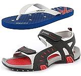 #9: Combo of Lotto Men's Sandal Rockstar GT7064_1353 with Lotto Slipper