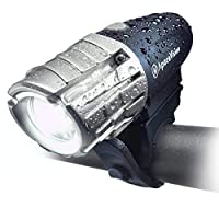 Eagle Eye USB Rechargeable Bike Headlight by Apace - Powerful 300 Lumens LED Bicycle Headlight - Super Bright Front Light for Optimum Cycling Safety (Black-Silver)
