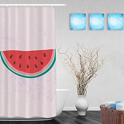 Hello Summer Cute Watermelon DecorBathrrom Shower Curtain Seasonal Summer Holiday Design Shower Curtain Waterproof Mildewproof Polyester Fabric 36