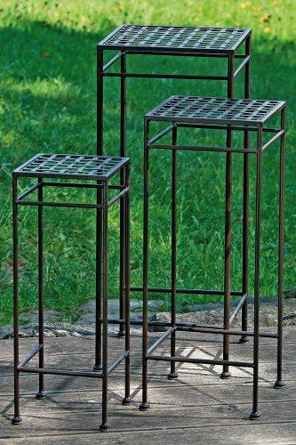 Boltze Gartentisch Beistelltisch 3er Set in antikbraun Höhe 53, 63 und 73 cm -