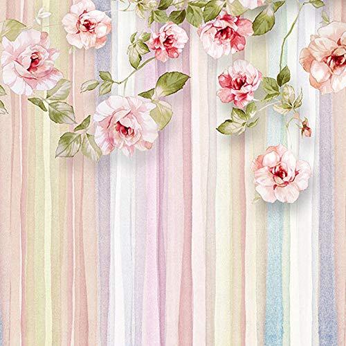 D Fototapete Europäischen Stil Rose Blume Wohnzimmer Sofa Schlafzimmer Hintergrund Gestreifte Tapete Wandbild De Parede 3D 200x100 cm ()