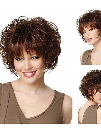 Mode Bob Haare schneidet Mode Synthetische Perücken Kurze gewellte braune Perücken mit Pony Volle natürliche Perücken für Frauen (Haar Halloween Medusa)