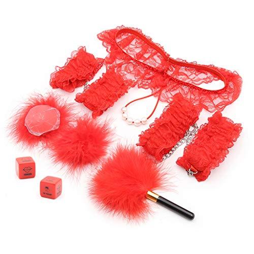 BDSM Fesseln-Set - Rote Federn necken, Spitzenhandschellen, Schnürknöchel, -