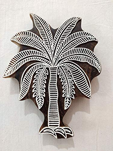 Rjkart Rosewood Palm Tree Design Printing Block Stamps for Pottery Crafts and Textile
