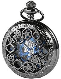Reloj de Bolsillo con Cadena - mecánico manchda Mens Imitacion Madera Luminoso Skeleton Dial + Caja de Regalo (3.HBA077)