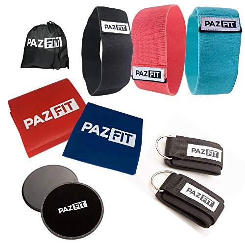PAZFIT Fitness-Kit - Professionelles Set mit Fitnessbändern, Elastikbändern, Core Slidern und mehr für effektives Ganzkörpertraining überall - Home Gym für Frauen- mit Trainingsplan -