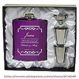 Zoomy Far: Personalisierte Hochzeitsgeschenk für Brautjungfer Geschenk von Flachmann mit 4 Tassen Trichterset oder Damen Geburtstagsgeschenk: Lila