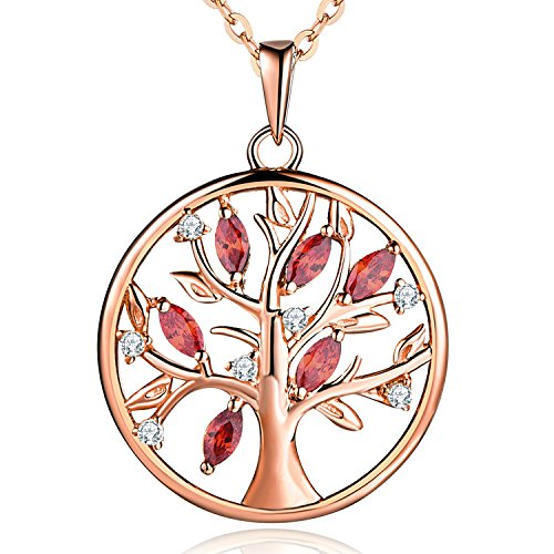 JO WISDOM Halskette Baum Des Lebens,kette anhaenger silber 925 baum des lebens Anhänger Halskette,Damen Schmuck,kette: 45-50CM (Rotgold vergoldet,Granat)