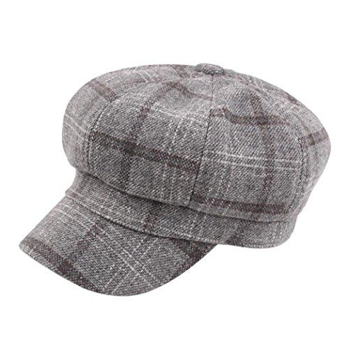 Bomber Classic Hut (Sansee Unisex Vintage Baumwolle Wintermütze Hut Wintermütze Warmer Baskenmütze Hüte (Grau, H-124))