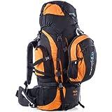 Skandika Makalu 85+15 Sac à dos trekking randonnée marche avec daypack 15 litres Noir/Orange